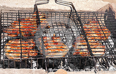 Grilled Meat preparing barbecue