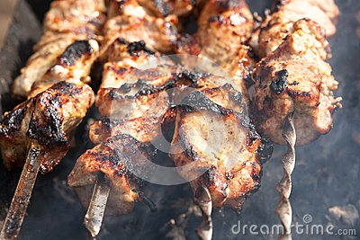 Grilled meat on a skewer