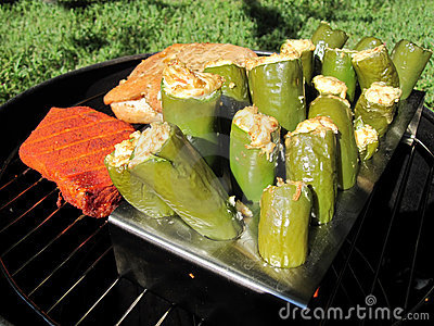 Grilled Meat and Stuffed Jalapenos