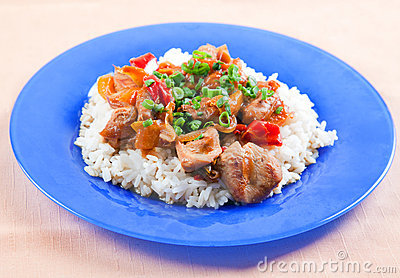 Grilled meat with vegetables and rice