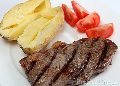 Grilled New York steak with veg