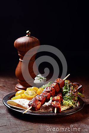 Free Grilled Pork Kebabs With Salad And Tortilla Stock Photos - 40626823