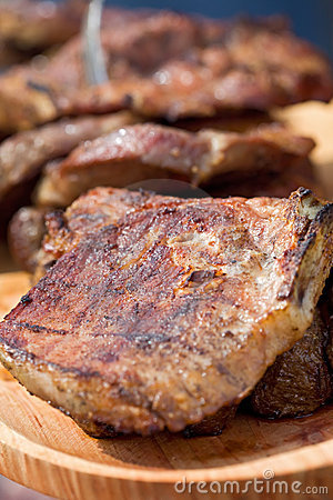 Grilled pork meat steaks
