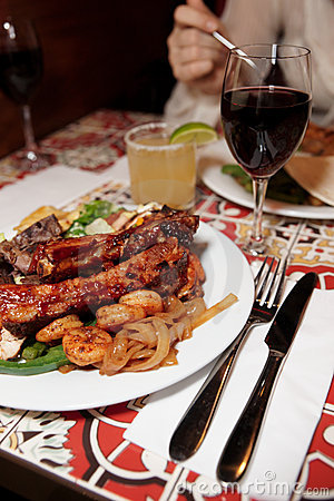 Grilled Pork Ribs, Beef And Shrimps Royalty Free Stock Photos - Image: 18290918