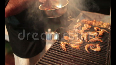 Grilled prawns on Stove. For sale at seafood market in Goa India stock footage