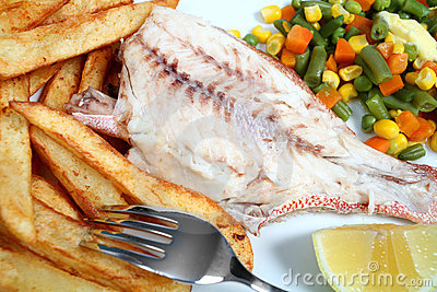 Grilled Red Snapper fries and veg