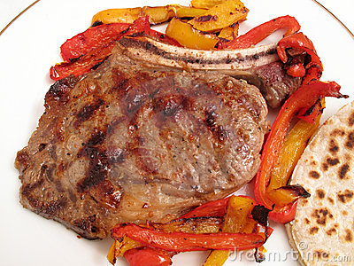Grilled Rib Steak and Peppers Dinner