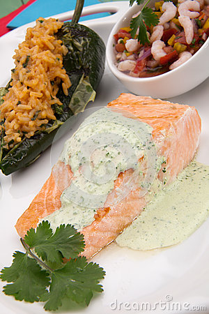 Grilled Salmon With Cilantro - Jalapeno Creme