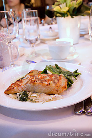 Free Grilled Salmon Fillet At Banquet Royalty Free Stock Photo - 9786435