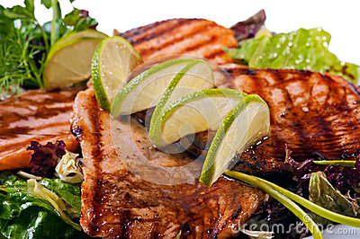 Grilled salmon fish steak