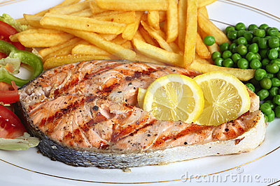 Grilled salmon steak close-up