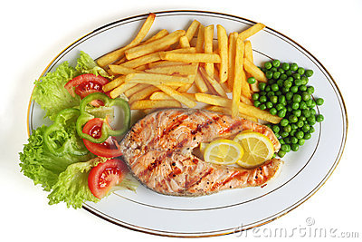 Grilled salmon steak meal