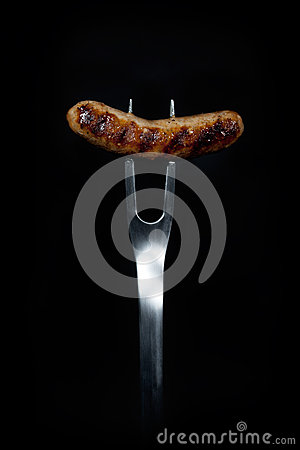 Free Grilled Sausage On Fork Royalty Free Stock Image - 43286756