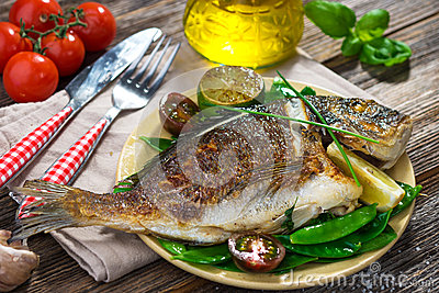 Grilled sea bream fish Stock Photo