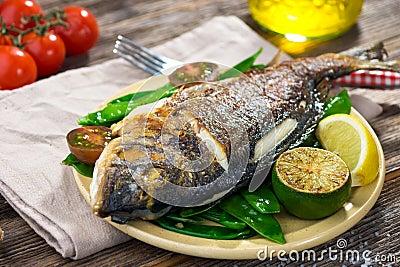 Grilled sea bream fish Stock Photo