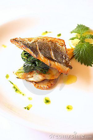 Grilled sea bream with swiss chard