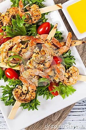 Free Grilled Shrimp Salad Royalty Free Stock Image - 86029796
