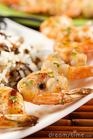 Free Grilled Shrimps Royalty Free Stock Photo - 4562345