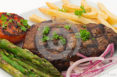 Grilled sirloin steak and fries dinner