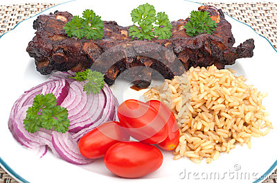 Grilled spare ribs with rice