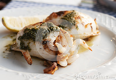 Grilled Squid With Special Canarian Sauce Mojo Stock Images - Image: 25261404