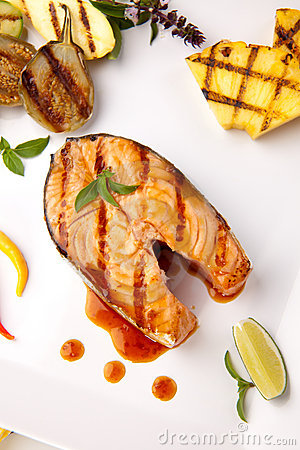 Free Grilled Teriyaki Salmon Steak Stock Image - 11616491