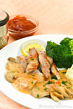 A Grilled Top Sirloin Steak Of Pork.. Chopped,with