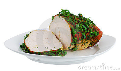 Grilled turkey breast on plate