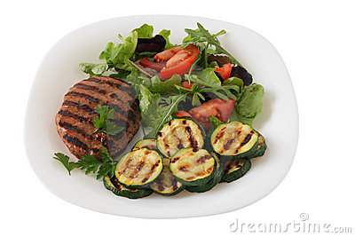Grilled turkey hamburger with vegetables