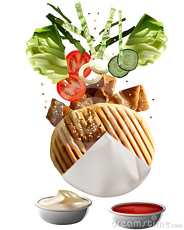 Free Grilled Turkish Doner Kebab Stock Photos - 24595663