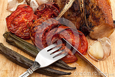 Grilled vegetables and herb with pork
