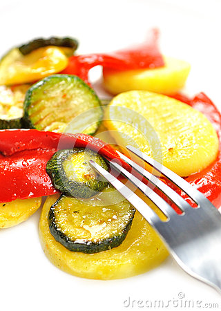 Grilled vegetables isolated on white