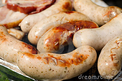 Grilled white sausages