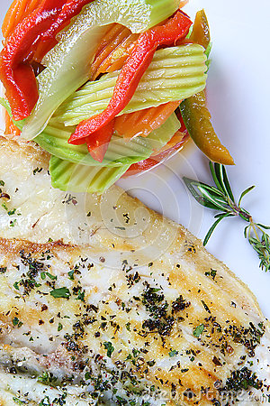 Grilled wild sea bass