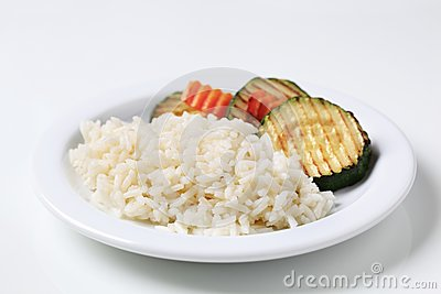 Grilled zucchini and rice