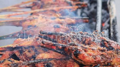 Grilling kip op de Maleisische nachtmarkt stock footage