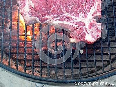 Grilling T-bone steak