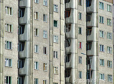 Grim apartment block in Russia
