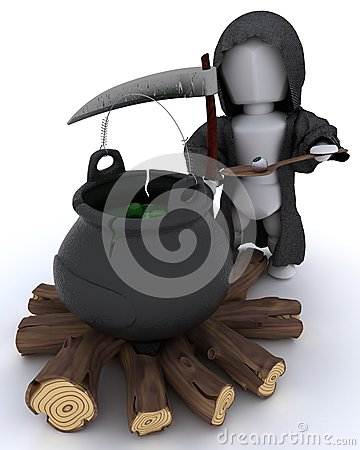 Grim reaper with cauldron of eyeballs