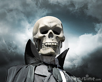 Grim reaper. death s skeleton on a cloudy sky