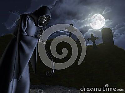 The Grim Reaper Stalks a Cemetery