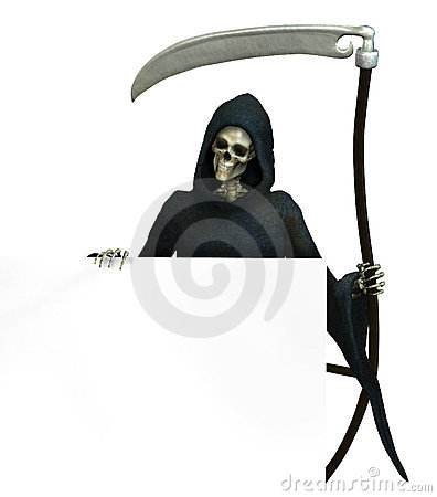 Free Grim Reaper With Sign Edge - Includes Clipping Path Royalty Free Stock Photography - 256067