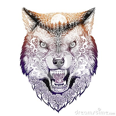 Grimacerie principale de loup de tatouage illustration stock image 64522112 - Tatouage de loup ...
