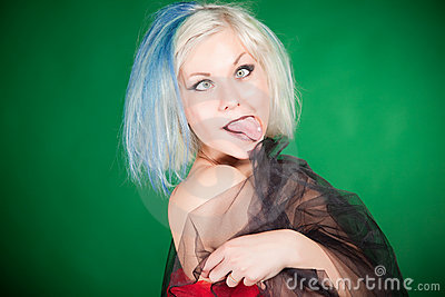 Grimacing Crazy Girl Stock Image - Image: 20674281