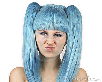 Grimacing woman with blue wig