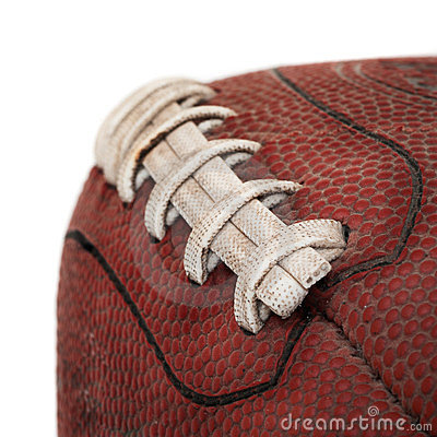 Grimy Old Football Closeup - On White