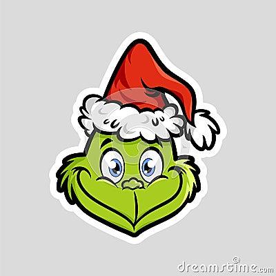 Grinch emoticon emoji Slightly Face Vector Illustration