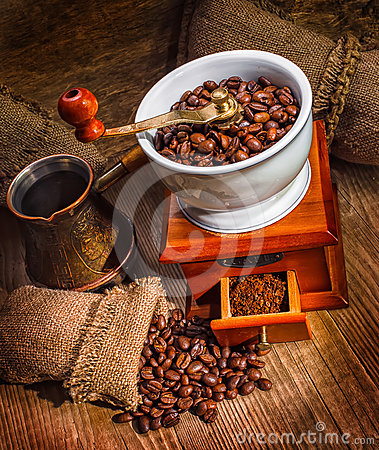 Free Grinder And Other Accessories For The Coffee Stock Photos - 24526623