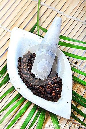 Grinding black pepper