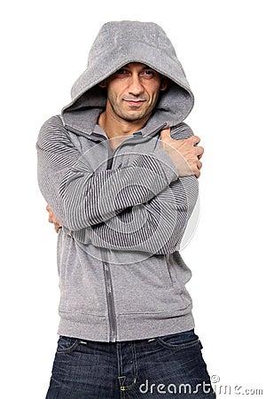 Grinning Man wearing hooded sweater
